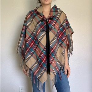 Sweaters - Plaid Checkered Winter Cape Sweater